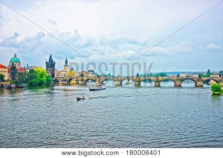Charles Bridge With Tower Over Vltava River Prague