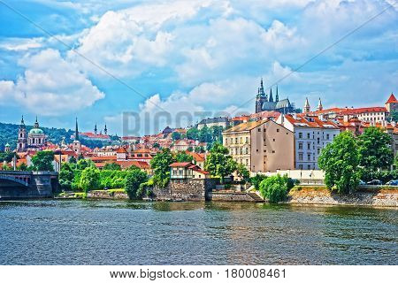 Embankment Of Vltava River With Old Town In Prague