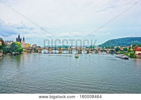 Ferry And Boat At Charles Bridge Prague