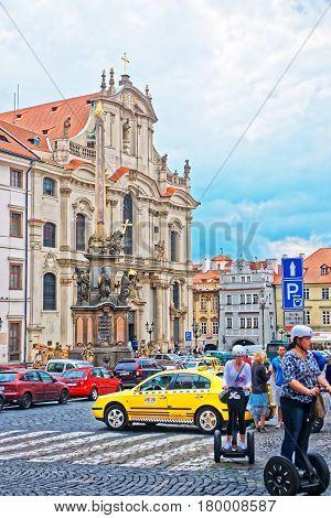Holy Trinity Column And St Nicholas Church In Prague