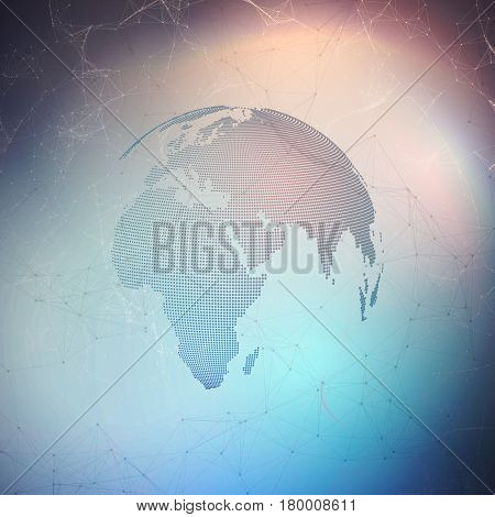 Abstract futuristic network shapes. High tech background, connecting lines and dots, polygonal linear texture. World globe. Global network connections, geometric design, dig data concept