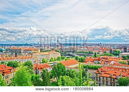 Panoramic View Of Prague Old Town And Vltava River