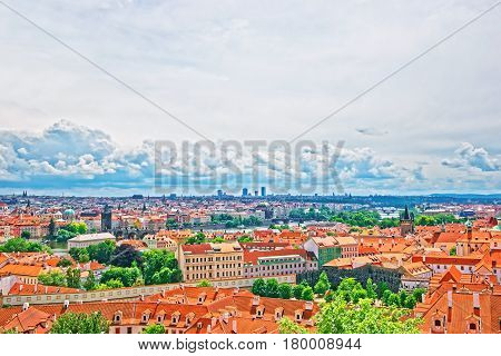 Panoramic View On Prague Old Town And Vltava River