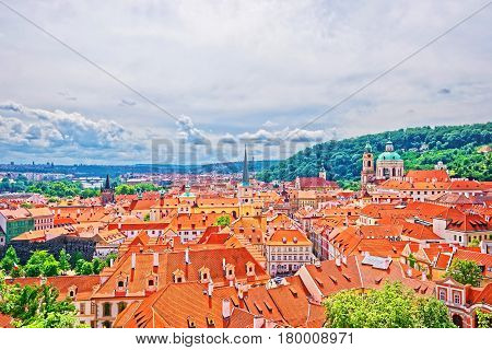 Panoramic View On St Nicholas Church In Prague Old Town