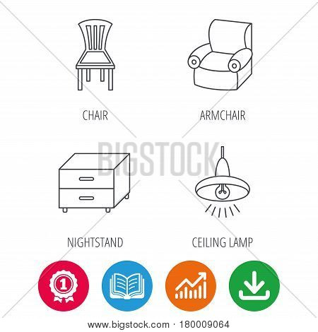 Ceiling lamp, nightstand and armchair icons. Chair linear sign. Award medal, growth chart and opened book web icons. Download arrow. Vector