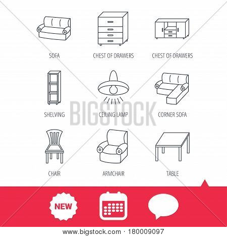 Corner sofa, table and armchair icons. Chair, ceiling lamp and chest of drawers linear signs. Shelving, furniture flat line icons. New tag, speech bubble and calendar web icons. Vector