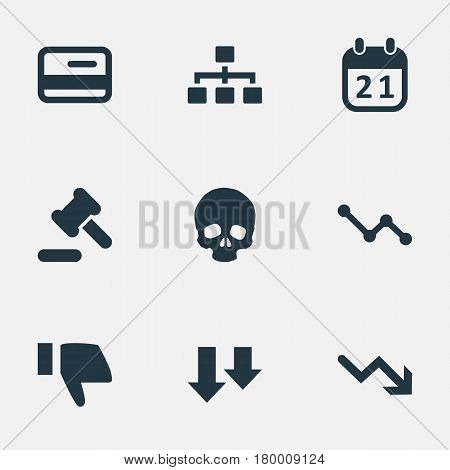 Vector Illustration Set Of Simple Situation Icons. Elements Finger Below, Graph Decreases, Head Bone And Other Synonyms Descending, Reminder And Arrow.