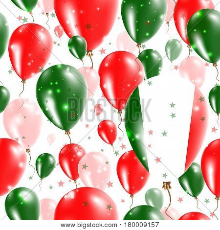 Italy Independence Day Seamless Pattern. Flying Rubber Balloons In Colors Of The Italian Flag. Happy