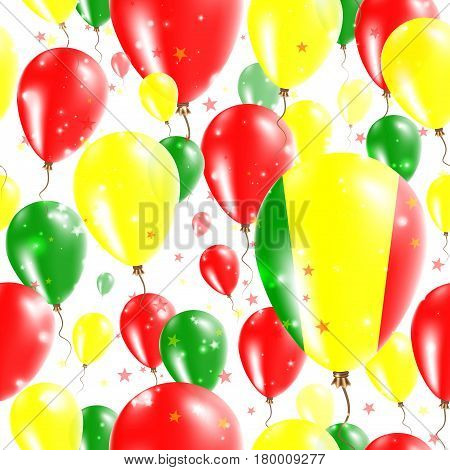 Mali Independence Day Seamless Pattern. Flying Rubber Balloons In Colors Of The Malian Flag. Happy M