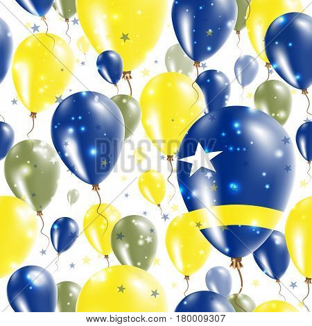 Curacao Independence Day Seamless Pattern. Flying Rubber Balloons In Colors Of The Dutch Flag. Happy