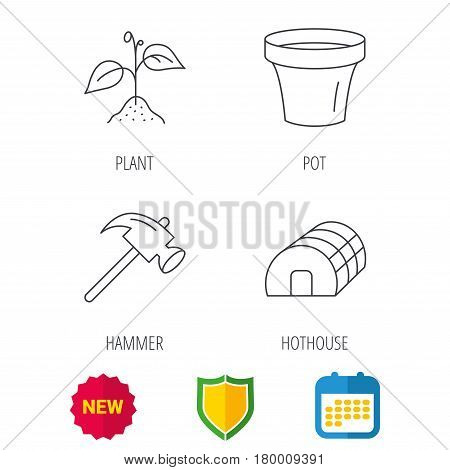 Sprout plant, hammer and pot icons. Hothouse linear sign. Shield protection, calendar and new tag web icons. Vector