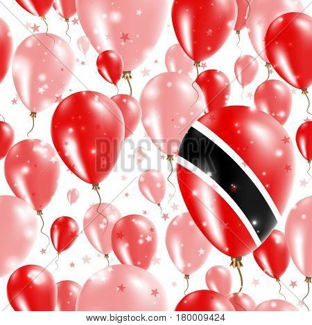 Trinidad And Tobago Independence Day Seamless Pattern. Flying Rubber Balloons In Colors Of The Trini