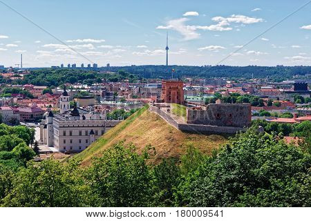 Tower And Lower Castle In Vilnius Of Lithuania