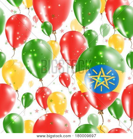 Ethiopia Independence Day Seamless Pattern. Flying Rubber Balloons In Colors Of The Ethiopian Flag.