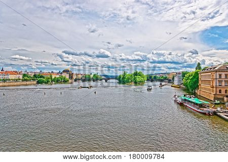 Vltava River With Bridge Of Legions In Prague