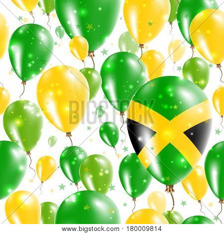 Jamaica Independence Day Seamless Pattern. Flying Rubber Balloons In Colors Of The Jamaican Flag. Ha