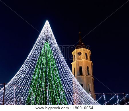 Christmas Tree And Cathedral Bell Tower In Vilnius Lithuania