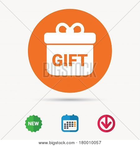 Gift icon. Present box with bow symbol. Calendar, download arrow and new tag signs. Colored flat web icons. Vector