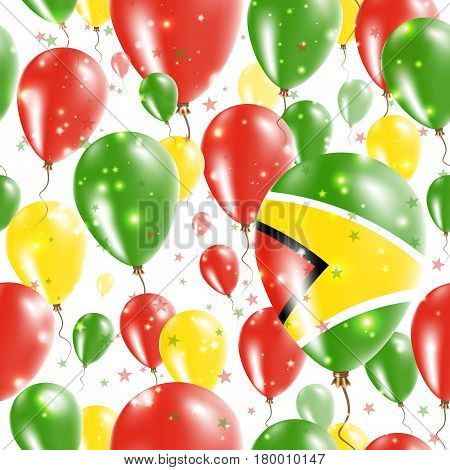 Guyana Independence Day Seamless Pattern. Flying Rubber Balloons In Colors Of The Guyanese Flag. Hap