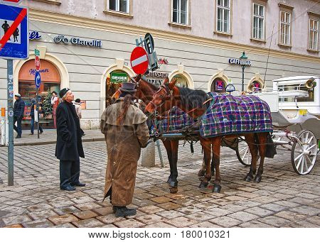 Horse Fiacre At Stephansplatz At Vienna City Center