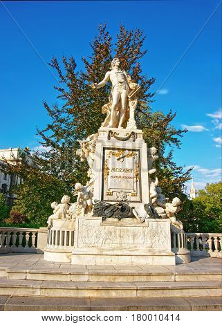 Mozart Sculpture In Burggarten Park In Vienna