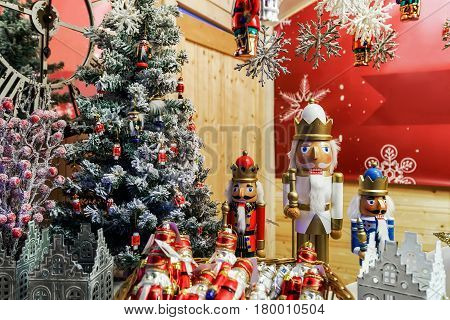 Nutcrackers And Xmas Decorations In Vilnius Christmas Bazaar