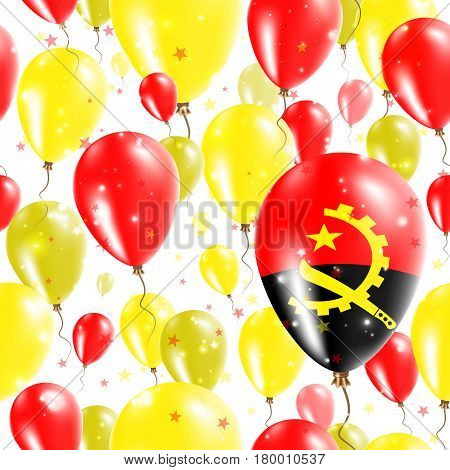 Angola Independence Day Seamless Pattern. Flying Rubber Balloons In Colors Of The Angolan Flag. Happ