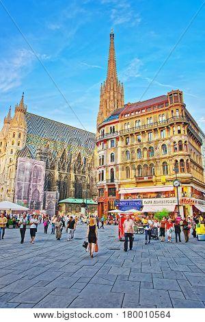 People And Saint Stephen Cathedral On Stephansplatz Vienna