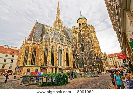 People At Saint Stephen Cathedral On Stephansplatz Of Vienna