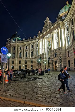 People At St Michael Wing Of Hofburg In Evening Vienna
