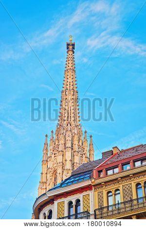 Spire Of St Stephen Cathedral At Stephansplatz In Vienna