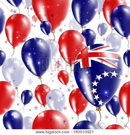 Cook Islands Independence Day Seamless Pattern. Flying Rubber Balloons In Colors Of The Cook Islande