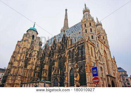 St Stephen Cathedral At Stephansplatz In Vienna