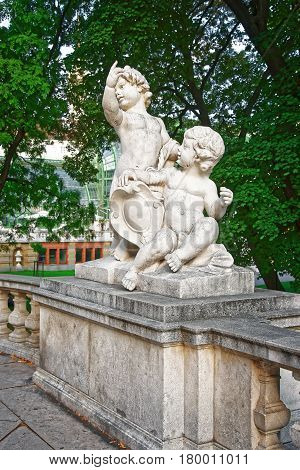 Statue Of Putti Angels In Burggarten In Vienna