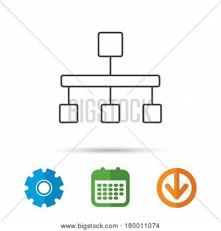 Hierarchy icon. Organization chart sign. Database symbol. Calendar, cogwheel and download arrow signs. Colored flat web icons. Vector