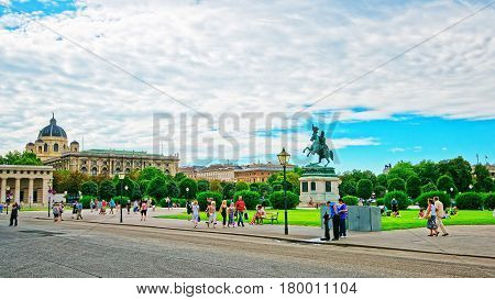 Tourists At Heldenplatz Of Hofburg In Vienna