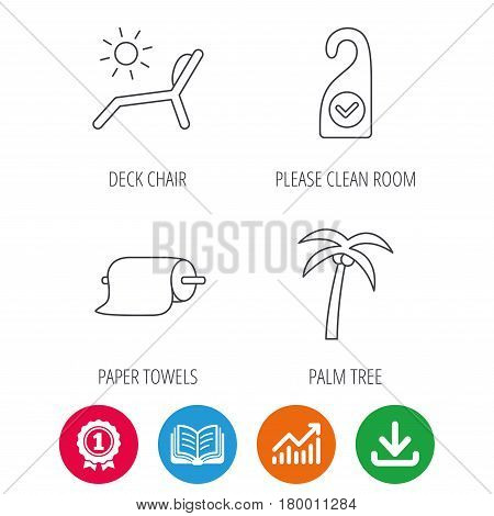 Palm tree, paper towel and beach deck chair icons. Clean room linear signs. Award medal, growth chart and opened book web icons. Download arrow. Vector