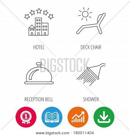 Hotel, shower and beach deck chair icons. Reception bell linear sign. Award medal, growth chart and opened book web icons. Download arrow. Vector
