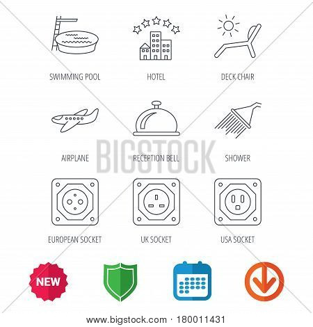 Hotel, swimming pool and beach deck chair icons. Reception bell, shower and airplane linear signs. European, UK and USA socket icons. New tag, shield and calendar web icons. Download arrow. Vector