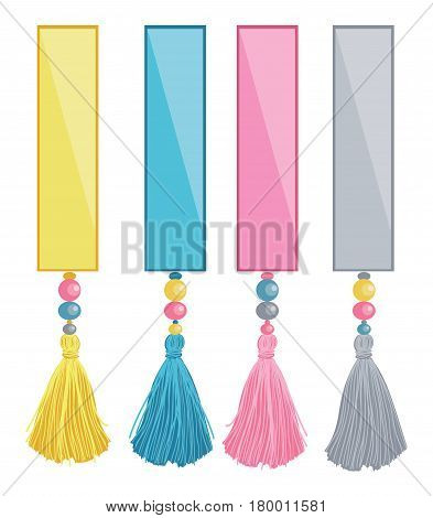 Vector Set of Ribbons With Colorful Decorative Tassels, Beads Elements. Great for handmade cards, invitations, wallpaper, packaging, nursery designs. Fashion and home decor.