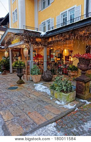 Restaurant Terrace Decorated With Plants For Christmas In Garmisch Partenkirchen