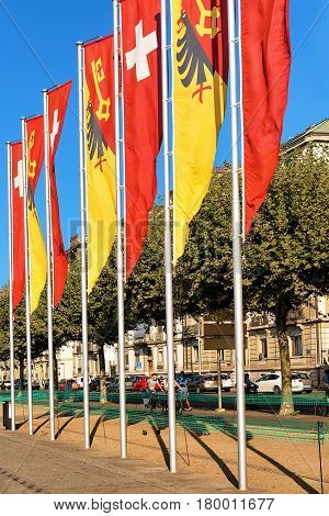 Swiss Flags And Geneva Canton Flags In Switzerland