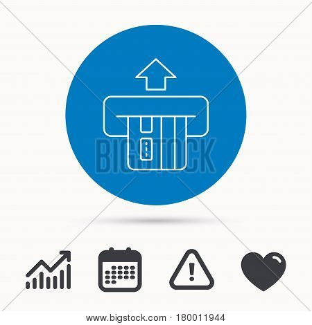Insert credit card icon. Shopping sign. Bank ATM symbol. Calendar, attention sign and growth chart. Button with web icon. Vector
