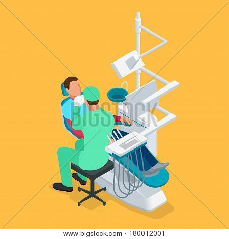 Isometric dentist examining mans teeth in the dentists chair. Medicine concept.