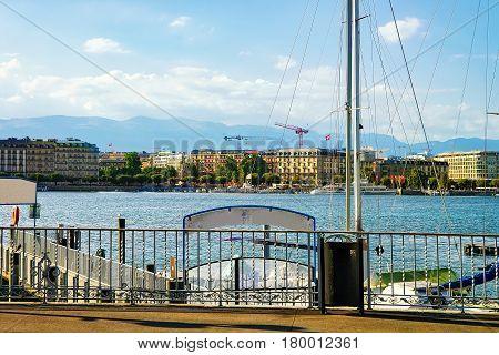 Promenade At Quai Fleuri At Geneva Lake In Summer,