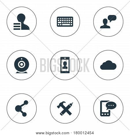 Vector Illustration Set Of Simple User Icons. Elements Man Considering, Share, Profile And Other Synonyms Gain, Cloud And Overcast.
