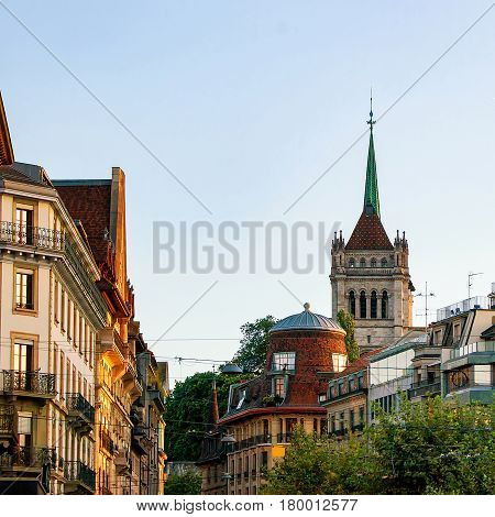 Street And Tower Of St Pierre Cathedral In Geneva Switzerland