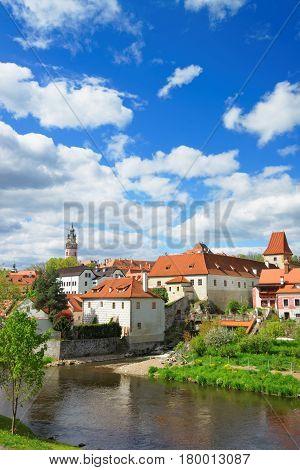 Cesky Krumlov Castle And Bend Of Vltava River
