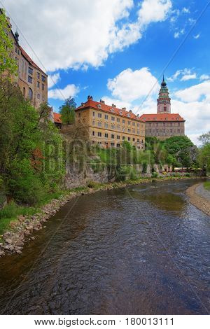 Cesky Krumlov State Castle With Bend In Vltava River
