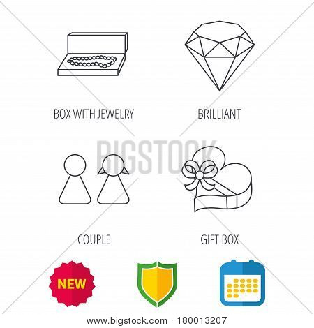 Brilliant, gift box and couple icons. Box with jewelry linear sign. Shield protection, calendar and new tag web icons. Vector